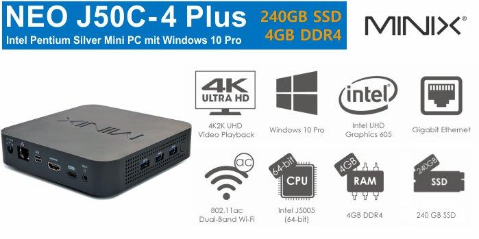 MiniX NEO J50C-4 Plus Mini-PC 240GB SSD 4GB DDR4RAM