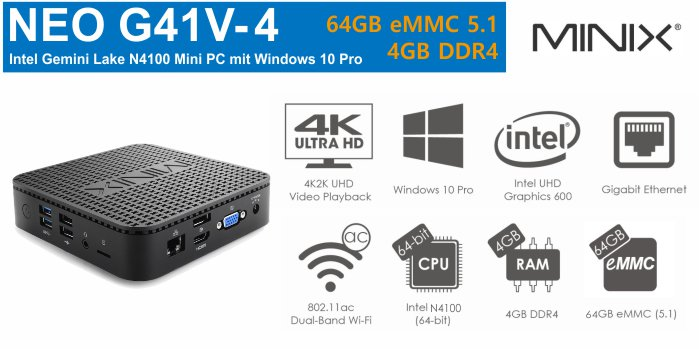 MiniX NEO G41V-4 Mini-PC 64GB eMMC 4GB DDR4 RAM