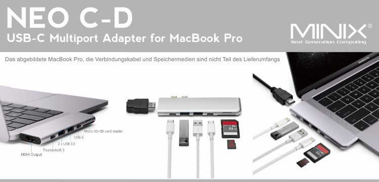 MINIX NEO C-D, Multiport Adapter für MacBook Pro