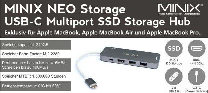 MINIX Storage NEO S2 USB-C Multiport Hub mit 240 GB SSD