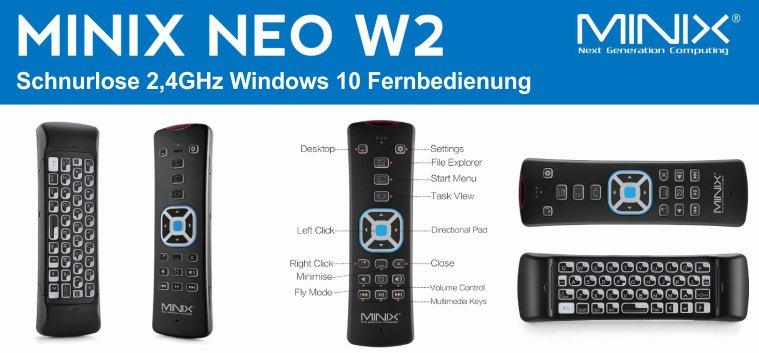 MiniX NEO W2 afstandsbediening voor Windows
