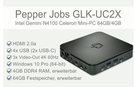 Pepper Jobs GLK-UC2X Intel Celeron N4100 Windows 10 Pro Mini PC