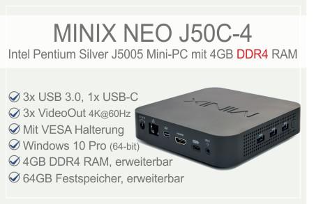 MINIX NEO J50C-4 Intel Pentium Silver J5005 Mini-PC