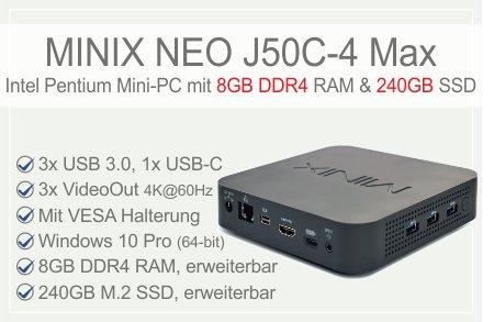 MINIX NEO J50C-4 Max Intel Pentium Silver J5005 Mini-PC