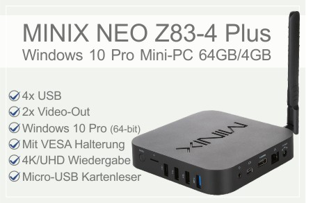 MINIX NEO Z83-4 Plus Windows 10 Pro Mini PC
