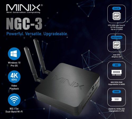 MiniX NGC-3 Mini-PC, 256GB SSD, 8GB RAM, Win 10 Pro