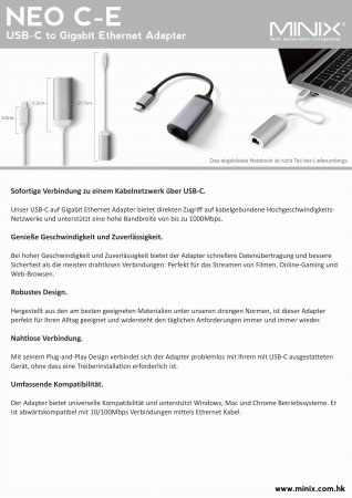 Datenblatt MINIX NEO C-E, USB-C Gigabit Ethernet Adapter