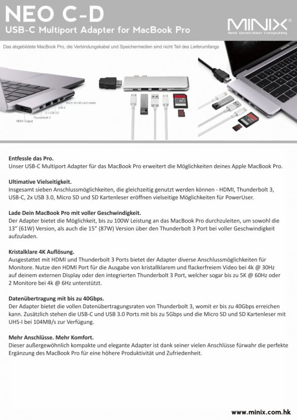 Datenblatt MINIX NEO C-D, Multiport Adapter für MacBook Pro