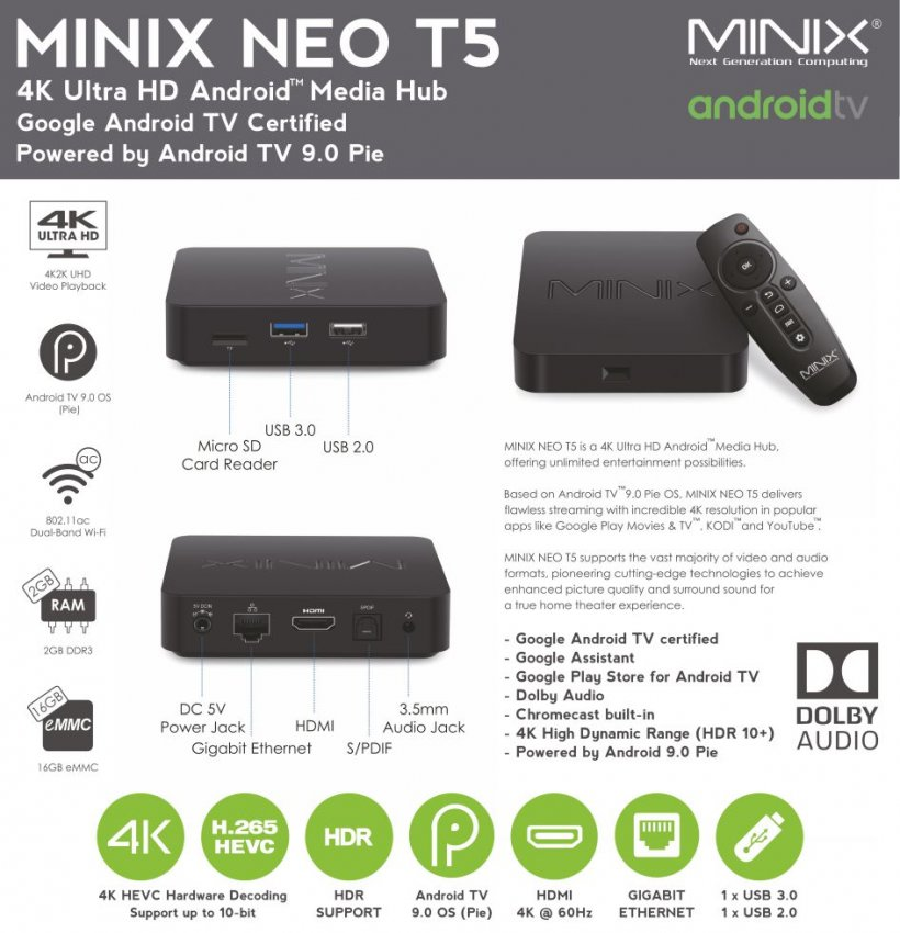 MiniX NEO T5 Android TV Box 16GB/2GB Flyer